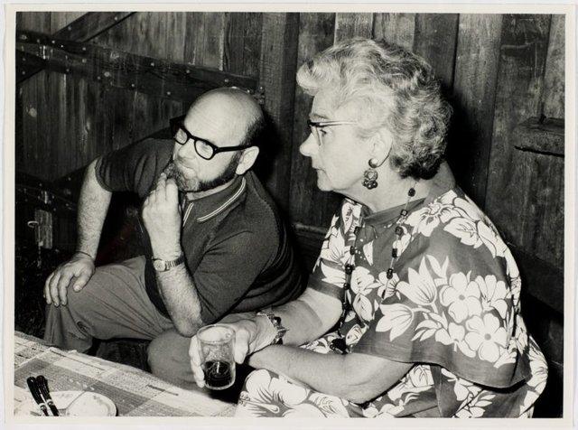 An image of Joe Rose and Rene Hawkins at Sheila McDonald's party, Woolloomooloo