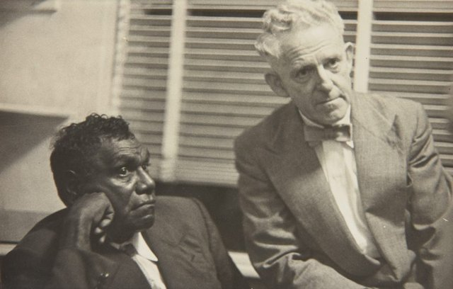 An image of Albert Namatjira and Rubery Bennett listening to an art broadcast