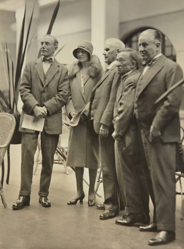 An image of The Governor of New South Wales Sir Phillip Game and Lady Game at the 1930 annual exhibition of the Royal Art Society with William Lister Lister, J. S. Watkins and Charles Bryant