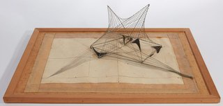 AGNSW collection Margel Hinder Wire wall maquette with drawing