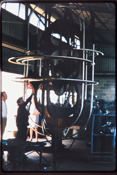 An image of Construction of Adelaide sculpture 1972 by Margel Hinder with Margel Hinder and fabricator Keith Jackson by Unknown