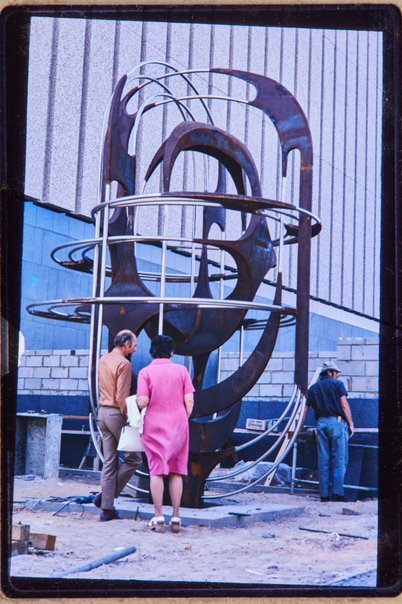 An image of Installation of Adelaide sculpture 1972 by Margel Hinder in Waymouth Street, Adelaide with Frank Hinder and Margel Hinder by Unknown