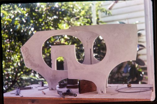 An image of Plaster working model for Woden sculpture by Margel Hinder in the garden by Unknown