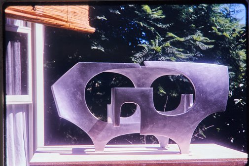 An image of Sprayed plaster working model for Woden sculpture by Margel Hinder in the garden by Unknown