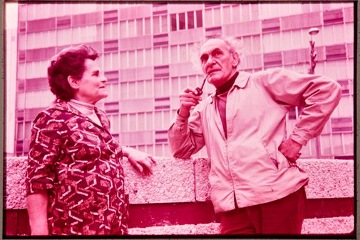 An image of Margel Hinder and Frank Hinder at Northpoint shopping complex, North Sydney, site of 'Northpoint fountain' 1975 by Margel Hinder by Unknown