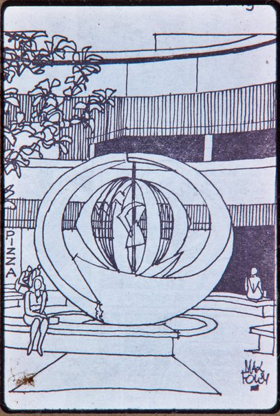 An image of Drawing of 'Northpoint fountain' 1975 by Margel Hinder in situ by Unknown