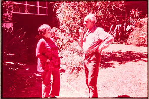 An image of Margel Hinder and Frank Hinder in the garden by Unknown