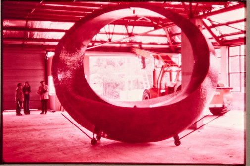 An image of Construction of 'Northpoint fountain' 1975 by Margel Hinder by Unknown