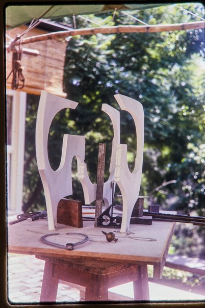 An image of Working model for Woden sculpture by Margel Hinder in the garden by Unknown