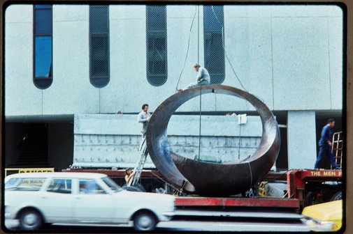 An image of Installation of 'Northpoint fountain' 1975 by Margel Hinder at Northpoint shopping centre, north Sydney by Unknown