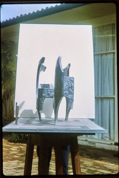 An image of Maquette for 'Sculptural form' 1969 by Margel Hinder in the garden by Unknown