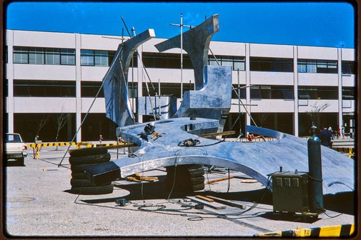 An image of Erection of Woden sculpture by Margel Hinder at Woden, Canberra by Unknown