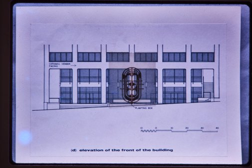 An image of Elevation of Marland House with sculpture competition model by Unknown
