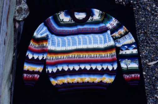 An image of Front of jumper knitted by Marie Partridge for the 'Upper Hunter Valley environment exbhition' by Frank Watters