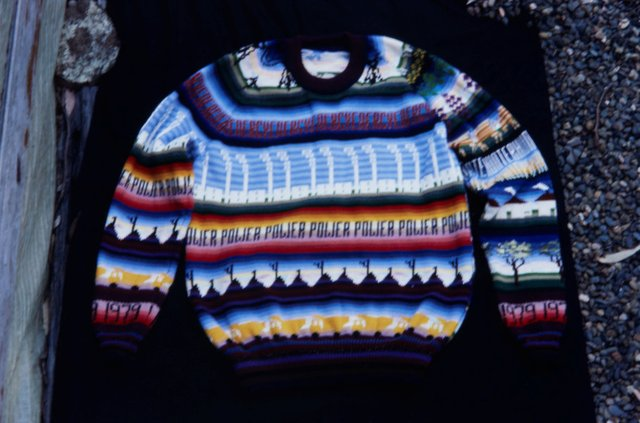 An image of Front of jumper knitted by Marie Partridge for the 'Upper Hunter Valley environment exbhition'