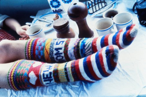 An image of Socks on breakfast table by Unknown