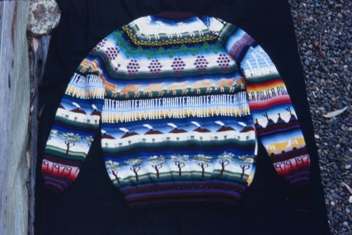 An image of Back of jumper knitted by Marie Partridge for the 'Upper Hunter Valley environment exbhition' by Frank Watters