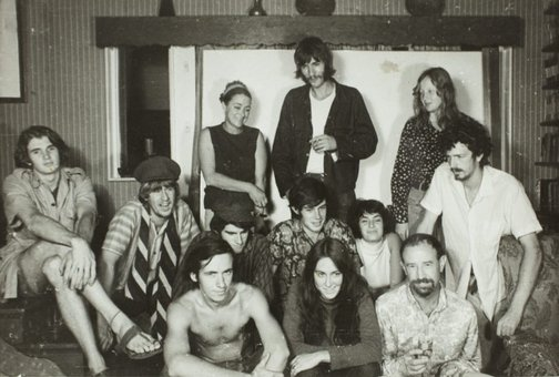 An image of Herbert Flugelman with his students during the construction of the 'Black box' 1969 by Unknown