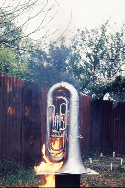 An image of Image of a burning euphonium in the performance of 'Burning euphonium' 1972 by Herbert Flugelman by Unknown