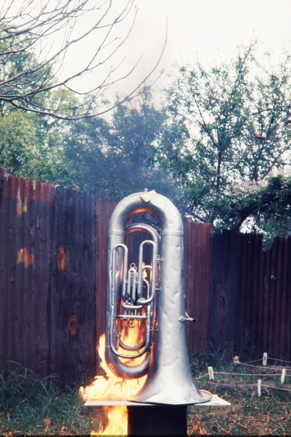 An image of Image of a burning euphonium in the performance of 'Burning euphonium' 1972 by Herbert Flugelman