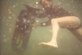 AGNSW collection Unknown Herbert Flugelman with euphonium underwater for 'Euphonium Maslin Beach' 1974 (1974) ARC348.62.7