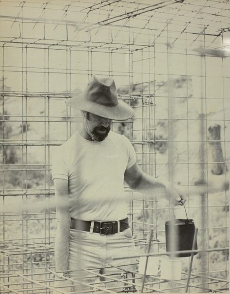 An image of Herbert Flugelman boiling the billy in 'Australian cottage' 1973 by Unknown