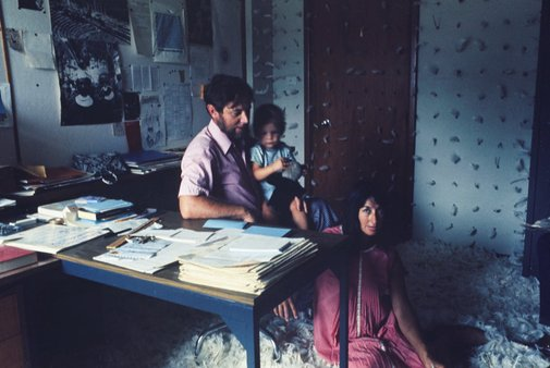 An image of Donald Brook, Phyllis Brook and baby Simon Brook  in 'Feathered office' 1971 by Optronic Kinetics by Herbert Flugelman, Optronic Kinetics