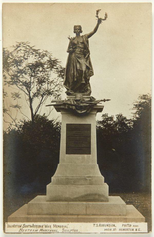 An image of Postcard depicting the Islington Boer War memorial 1904-05 by Bertram Mackennal