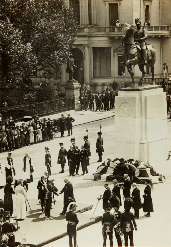 An image of The unveiling of the memorial statue of King Edward VII by Bertram Mackennal in London