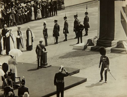 An image of King George VI unveiling the King Edward VII memorial by Bertram Mackennal in London by Central News Agency