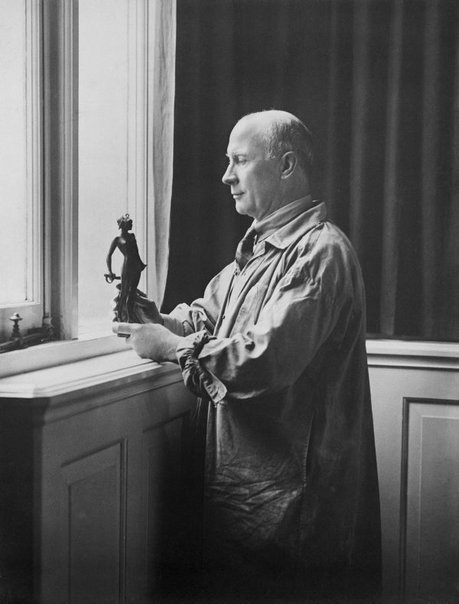An image of Bertram Mackennal holding his sculpture 'Salome' c.1895 by Unknown