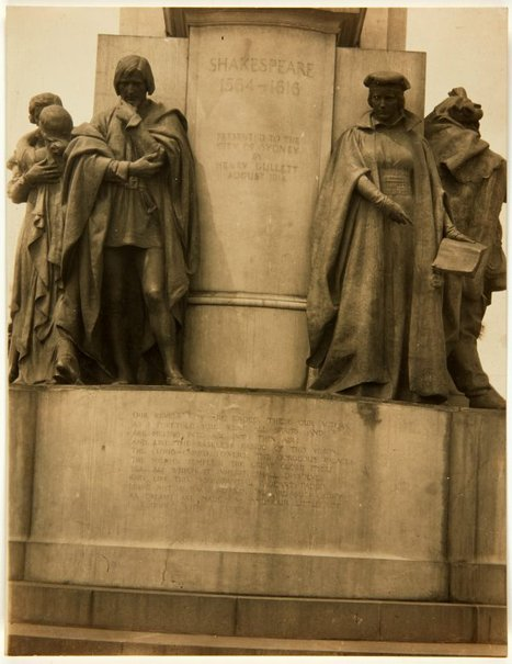 An image of Image of the figures of 'Portia' and 'Hamlet' at the base of the Shakespeare Memorial 1926 by Bertram Mackennal by Unknown