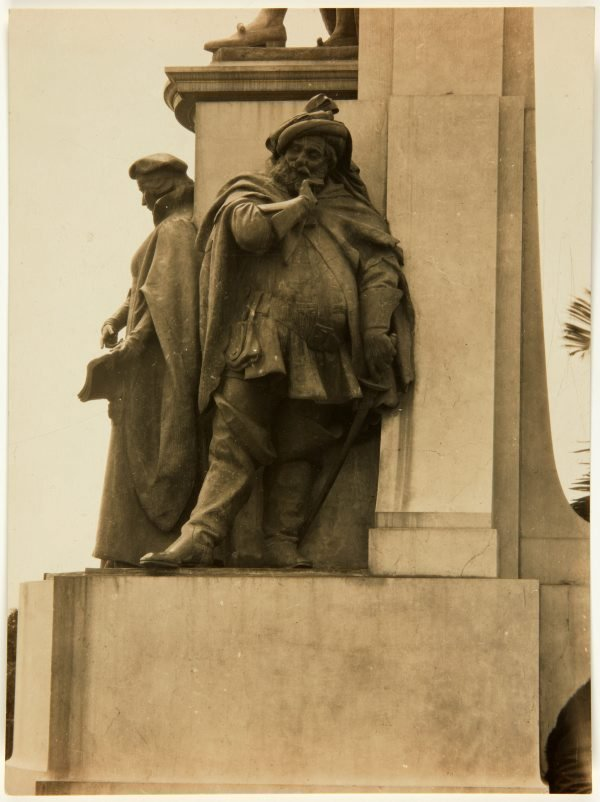 An image of Image of the figure of 'Falstaff' at the base of the Shakespeare Memorial 1926 by Bertram Mackennal