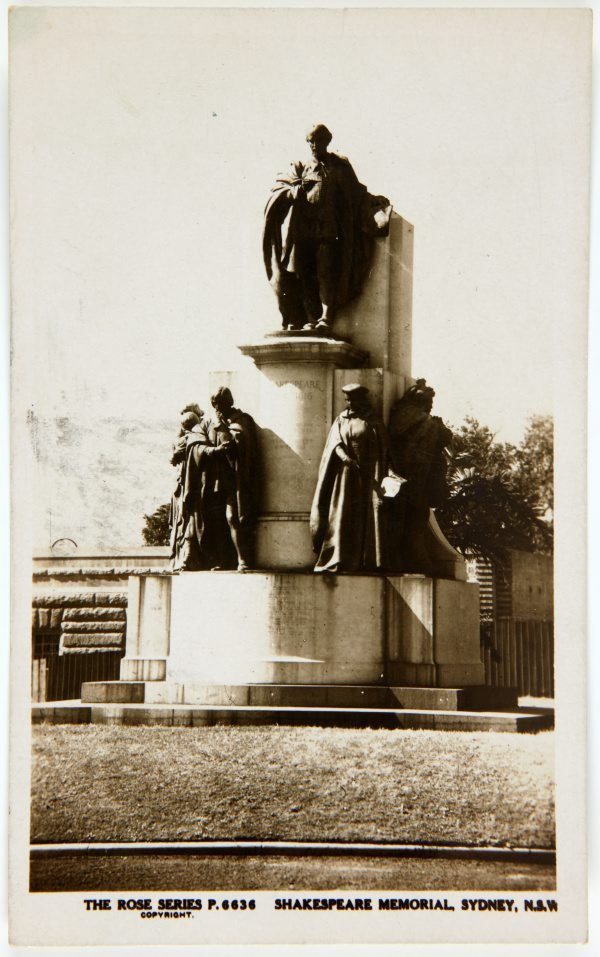 An image of Postcard of the Shakespeare Memorial, Sydney, N.S.W.