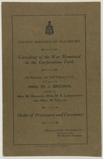 An image of Program for the unveiling of the Blackburn War Memorial in the Corporation Park by The Standard Press
