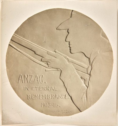 An image of Image of plaster cast of the reverse of the Anzac medal by Dora Ohlfsen by Dora Ohlfsen