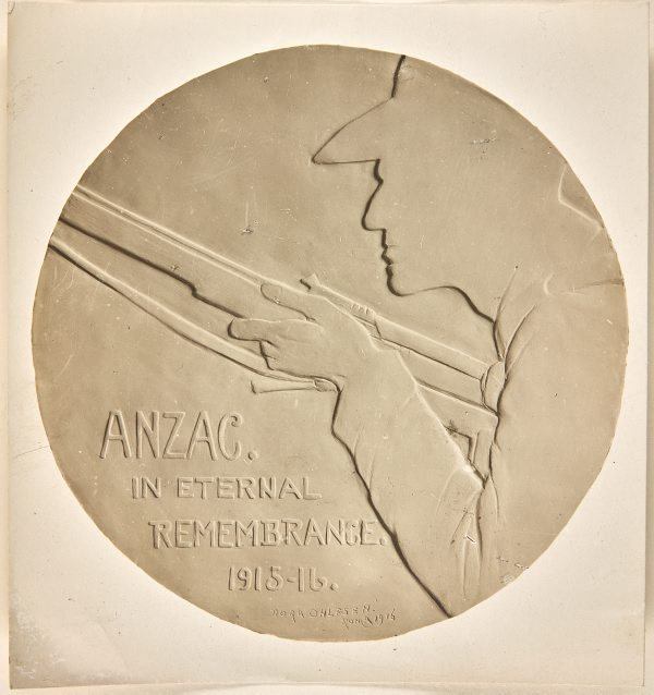 An image of Image of plaster cast of the reverse of the Anzac medal by Dora Ohlfsen