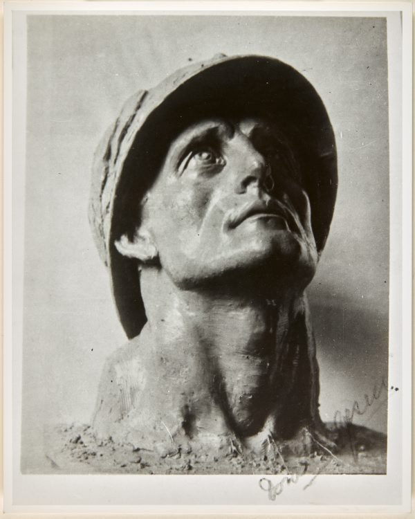An image of Image of the head of the figure of 'Sacrifice' from the Formia war memorial by Dora Ohlfsen
