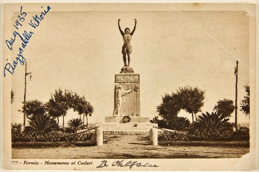 An image of Annotated postcard depicting the war memorial at Formia by Dora Ohlfsen by Dora Stanford