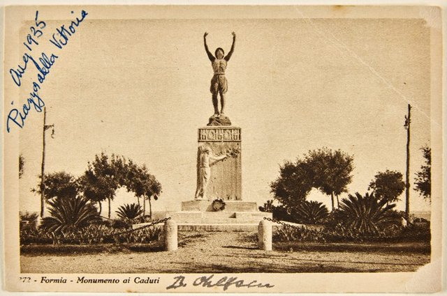 An image of Annotated postcard depicting the war memorial at Formia by Dora Ohlfsen