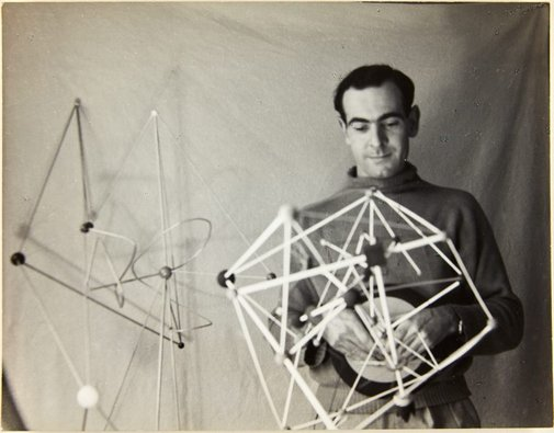 An image of Robert Klippel with his constructions in Sydney by