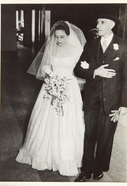 An image of Nina Mermey with her father on her wedding day by Unknown photographer