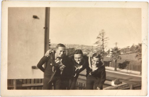 An image of The three Bs: Bruce Elder, Bill Menzies and Robert Klippel on leave by Unknown