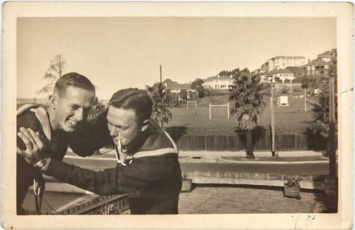 An image of Robert Klippel and Bruce Elder on leave from the Navy by Unknown