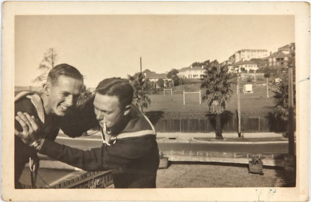 An image of Robert Klippel and Bruce Elder on leave from the Navy