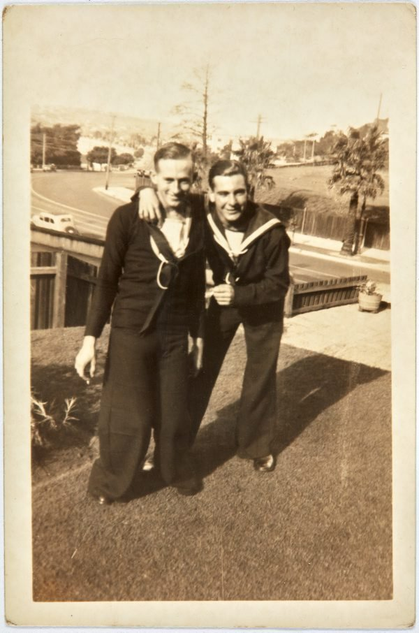 An image of Bruce Elder and Robert Klippel on leave from the Navy