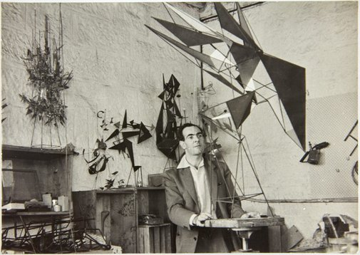 An image of Robert Klippel with his constructions in his Potts Point workshop by John Pearson