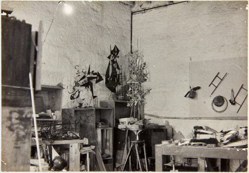 An image of Robert Klippel constructions Opus 73, Opus 67 and Opus 71 in his Potts Point workshop by John Pearson
