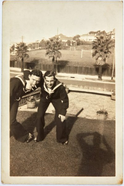 An image of Bill Menzies and Robert Klippel on leave from the Navy by Unknown
