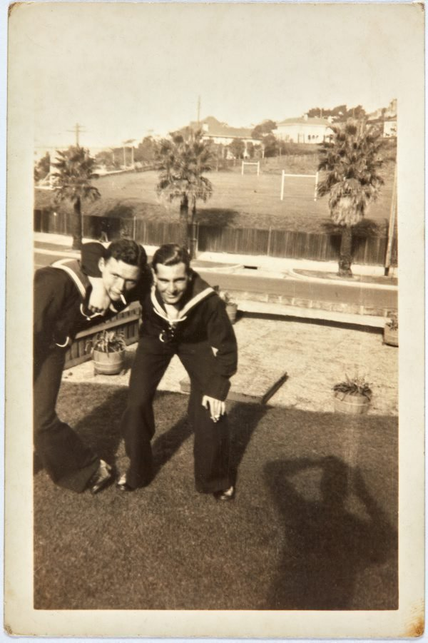 An image of Bill Menzies and Robert Klippel on leave from the Navy